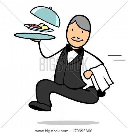 Fast cartoon waiter running with food on a plate