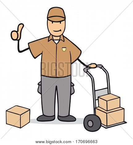 Cartoon parcel delivery man with boxes holding thumbs up
