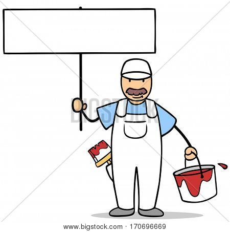 Cartoon painter with paint bucket holding up a blank sign
