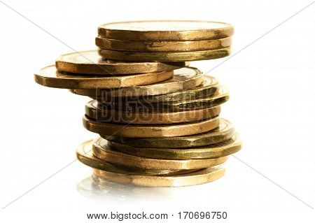 Close-up image of coins stacked on each other. Money concept.