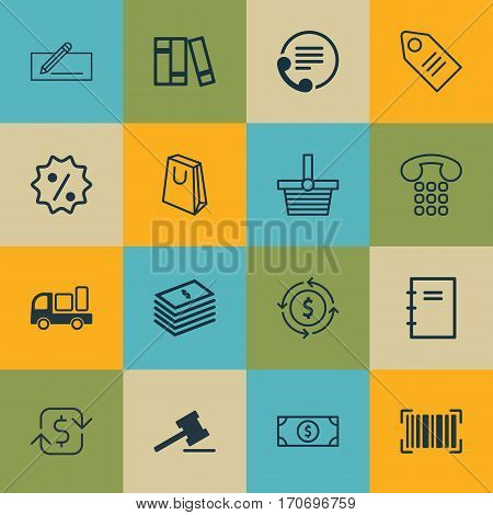 Set Of 16 Ecommerce Icons. Includes Buck, Ticket, Identification Code And Other Symbols. Beautiful Design Elements.