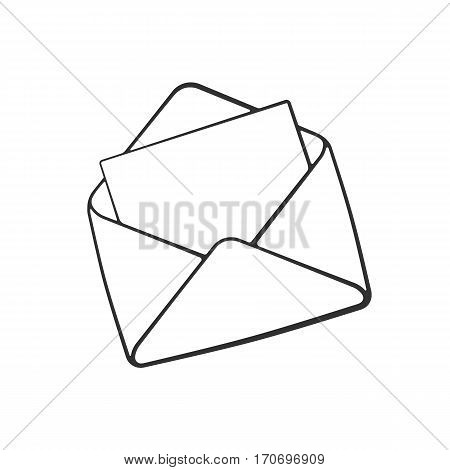 Vector illustration. Hand drawn doodle of opened envelope. Incoming message has been read. Cartoon sketch. Decoration for greeting cards, posters, emblems