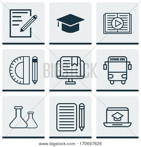 Set Of 9 Education Icons. Includes Transport Vehicle, Chemical, Distance Learning And Other Symbols. Beautiful Design Elements.