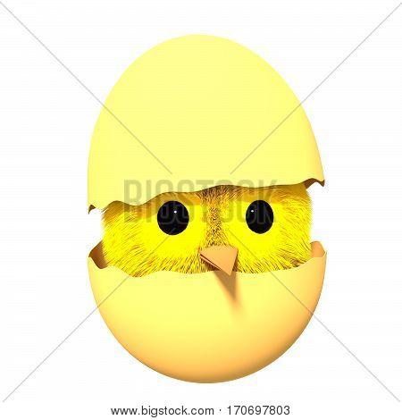 Easter chicken inside an eggshell. Creative 3D illustration in cartoon style.