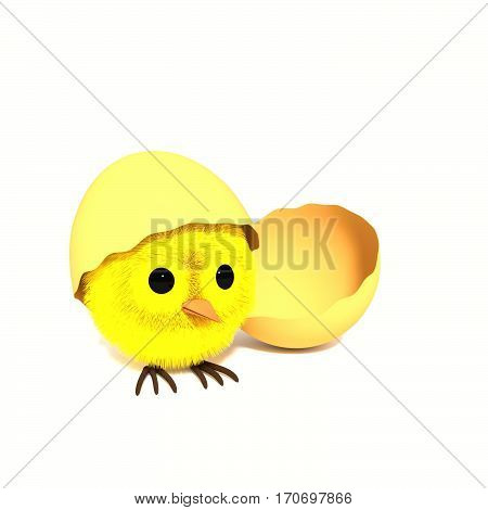 Easter chicken in an eggshell. Creative 3D illustration in cartoon style.