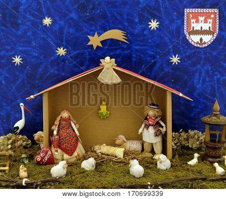 ZAGREB, CROATIA - DECEMBER 21: Nativity scene work of Ivanka Portada, exhibition of mangers in the gallery Vijenac in Zagreb, Croatia on December 21, 2014.
