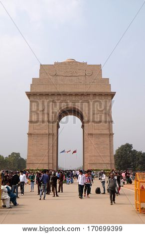 DELHI, INDIA - FEBRUARY 13: The Indian gate on February 13, 2016, Delhi, India. The Indian gate is the national monument of India.