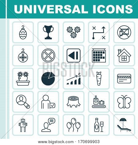 Set Of 25 Universal Editable Icons. Can Be Used For Web, Mobile And App Design. Includes Elements Such As Moth, Wine, Solution And More.