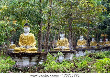 Sitting Buddha statue row in the Lumbini garden, Hpa-An, Myanmar
