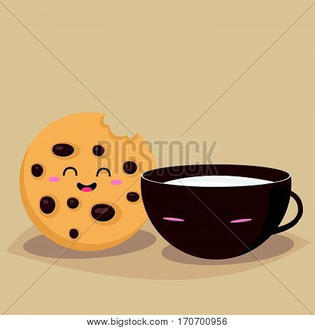 Funny cookie with a cup of milk. Friends forever. Breakfast. Funny food