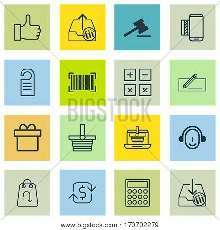 Set Of 16 E-Commerce Icons. Includes Recurring Payements, E-Trade, Recommended And Other Symbols. Beautiful Design Elements.