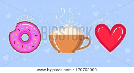 vector illustration of donut with pink glaze cappuccino cup red heart and text