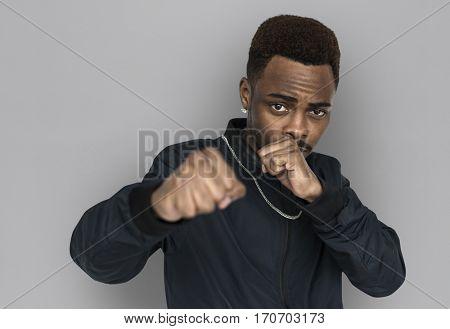 African Man Fist Studio Portrait Concept