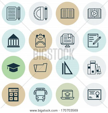 Set Of 16 Education Icons. Includes Document Case, Library, E-Study And Other Symbols. Beautiful Design Elements.