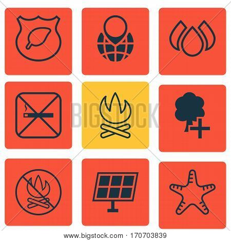 Set Of 9 Eco-Friendly Icons. Includes Guard Tree, Bonfire, Insert Woods And Other Symbols. Beautiful Design Elements.