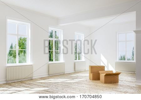 3d interior rendering of moving in or out - empty boxes on floor of apartment