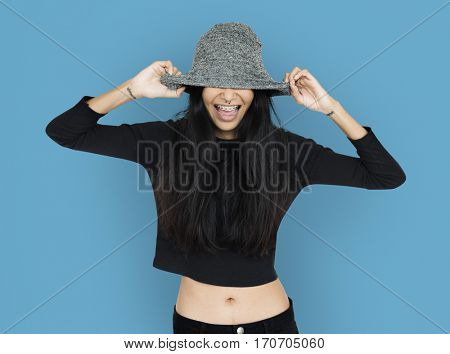 Young Women Hands On Hat Silly