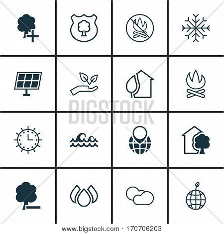 Set Of 16 Eco Icons. Includes Bonfire, Cloud Cumulus, Save World And Other Symbols. Beautiful Design Elements.