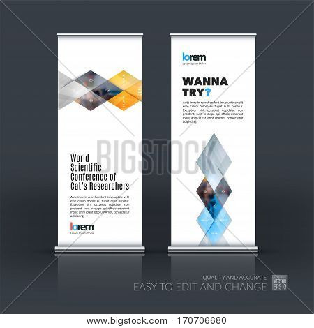 Abstract business vector set of modern roll Up Banner stand design template with grey geometric shapes, triangles, rhombus for exhibition, show, exposition, expo, presentation, parade, events.