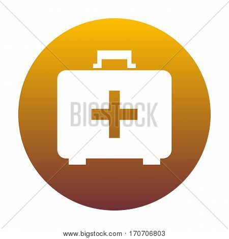 Medical First aid box sign. White icon in circle with golden gradient as background. Isolated.