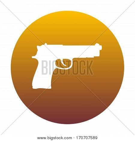 Gun sign illustration. White icon in circle with golden gradient as background. Isolated.