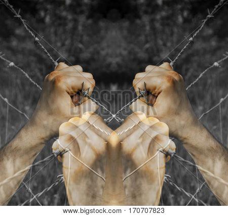 Lots of coloured tortured hands grasping desperately barbed wire on black and white background