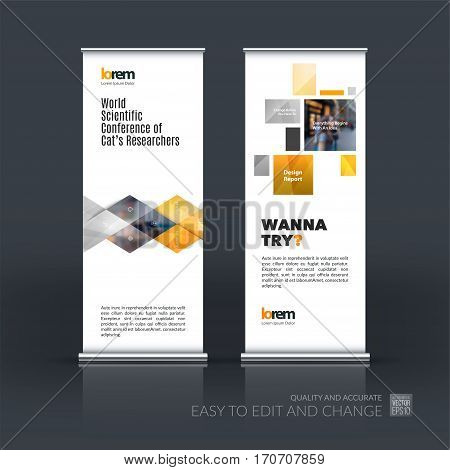 Abstract business vector set of modern roll Up Banner stand design template with yellow geometric shapes, triangles, rhombus for exhibition, show, exposition, expo, presentation, parade, events.