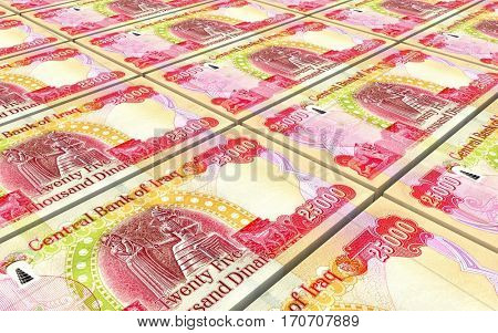 Iraqi dinars bills stacked background. 3D illustration.