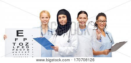 medicine, healthcare, vision and people concept - smiling female doctors white coats with clipboards, eye chart and glasses
