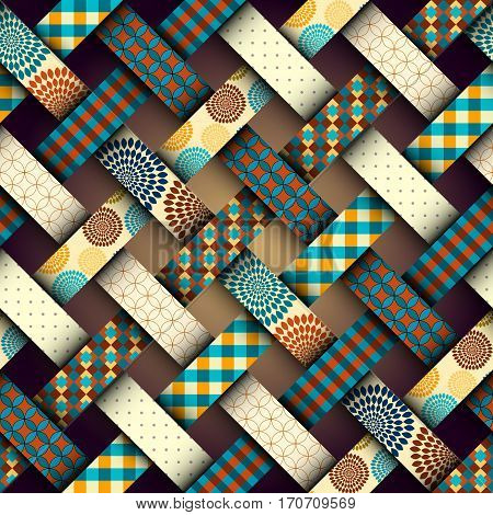 Seamless background pattern. Brown retro interweaving patchwork