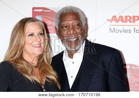 LOS ANGELES - FEB 6:  Lori McCreary, Morgan Freeman at the AARP Movies for Grownups Awards at Beverly Wilshire Hotel on February 6, 2017 in Beverly Hills, CA