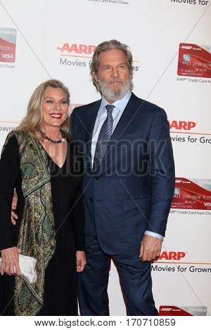 LOS ANGELES - FEB 6:  Susan Bridges, Jeff Bridges at the AARP Movies for Grownups Awards at Beverly Wilshire Hotel on February 6, 2017 in Beverly Hills, CA