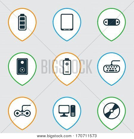 Set Of 9 Computer Hardware Icons. Includes Radio Set, Audio Device, Cellphone And Other Symbols. Beautiful Design Elements.