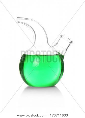 Test flask with green sample isolated on white