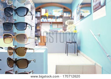 Modern interior of ophthalmic store