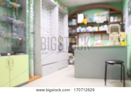 Defocused modern interior of ophthalmic store