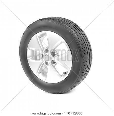 Car wheel, isolated on white