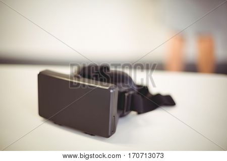 Virtual reality headset on table at school