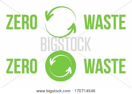 Set, collection of green zero waste heading, icons, design elements for web and print isolated on white background.