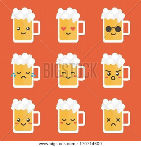 Cute flat design glass of beer character with different facial expressions, emotions. Set, collection of emoji isolated on white background.