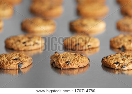 Production line of baking  cookies, closeup