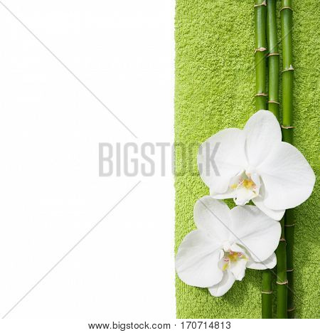 Two  orchids and branches of bamboo  lying on light  green terry towel. Isolated  background. Viewed from above. Spa concept.