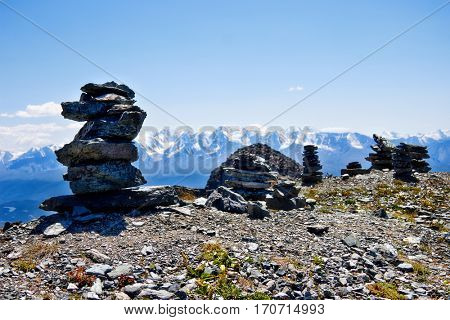 Altai, the North-Chuya ridge - Highlands region of Siberia. A pile of stones composed on the mountain top.