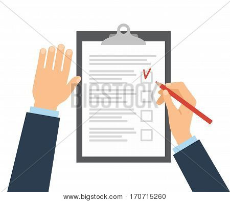 Businessman fills checklist with pencil. Questionnaire, survey, clipboard, task list. Icon flat style vector illustration. Filling out forms, planning