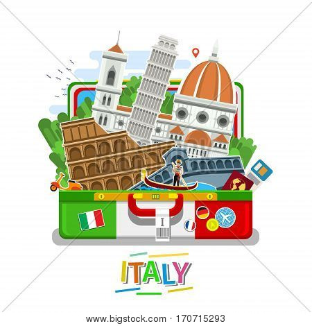 Concept of travel to Italy or studying Italian. Italian flag with landmarks in open suitcase. Flat design, vector illustration