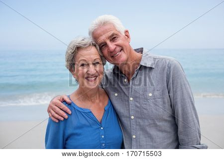 Portrait of senior couple embracing each other on the beach on a sunny day