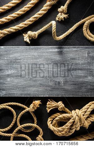 ship rope at black background texture