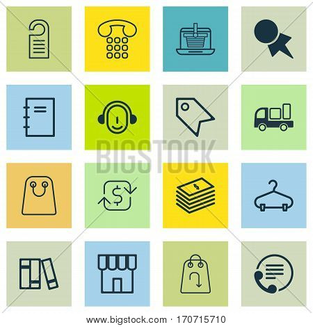 Set Of 16 Ecommerce Icons. Includes E-Trade, Tote Bag, Shop And Other Symbols. Beautiful Design Elements.