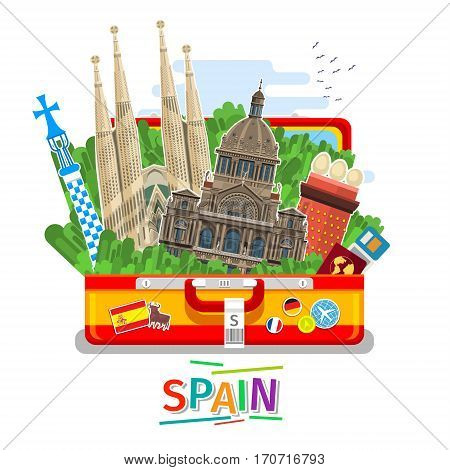 Concept of travel to Spain or studying Spanish. Spanish flag with landmarks in open suitcase. Flat design, vector illustration