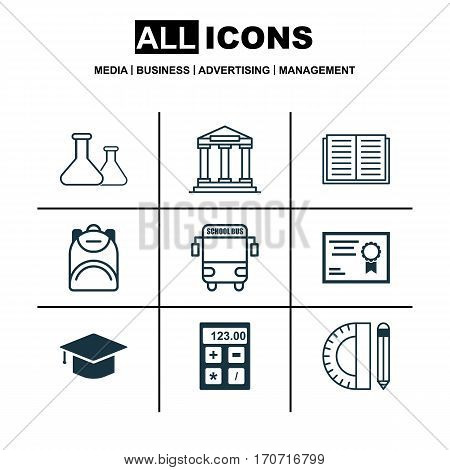 Set Of 9 School Icons. Includes College, Education Tools, Certificate And Other Symbols. Beautiful Design Elements.